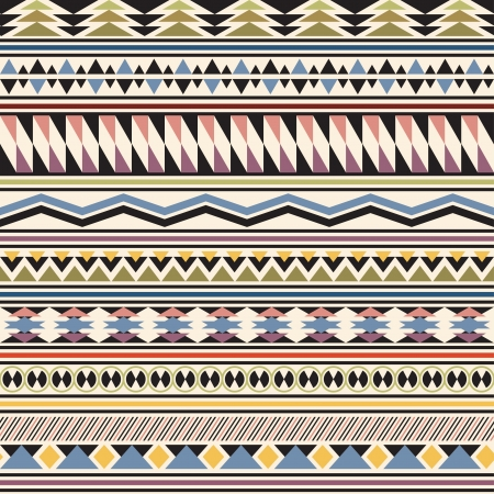 Tribal striped seamless pattern  Geometric multicolor background  Vintage soft colors  Swatches of seamless pattern included in the file  Ilustracja