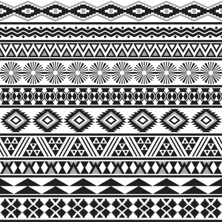 native american art: Tribal striped seamless pattern  Geometric black-white background  Swatches of seamless pattern included in the file
