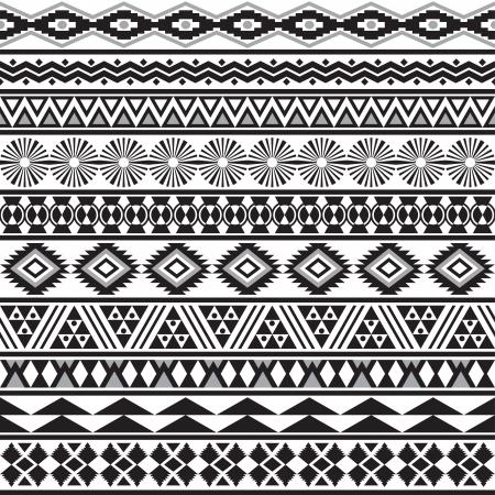 Tribal transparente rayée motif géométrique noir-blanc fond Nuancier de seamless inclus dans le fichier Vecteurs