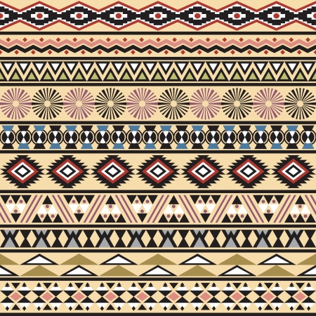 native american art: Tribal striped seamless pattern  Geometric multicolor background  Vintage soft colors  Swatches of seamless pattern included in the file  Illustration