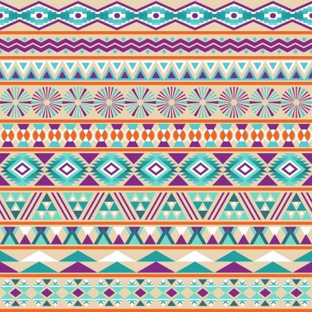 部族のシームレスなパターン幾何学的な多色背景ヴィンテージ柔らかい色、ファイルに含まれているシームレスなパターンのスウォッチをストライ