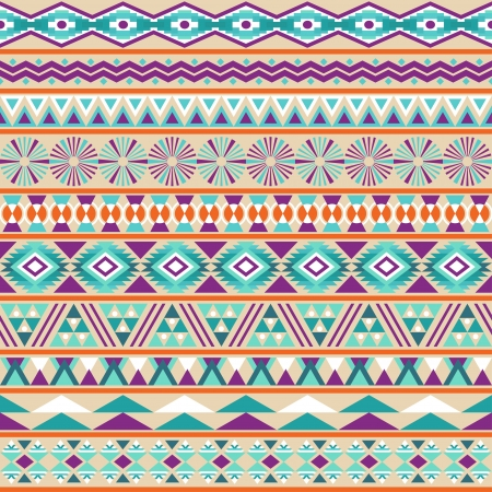 mexican: Tribal striped seamless pattern  Geometric multicolor background  Vintage soft colors  Swatches of seamless pattern included in the file  Illustration