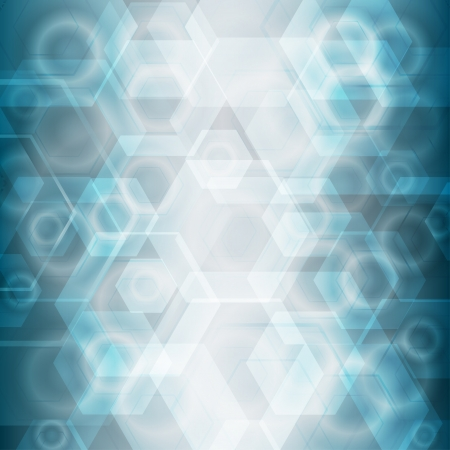 techno background: Beautiful abstract background with bokeh hexagon and circle lights  Blue and white soft colors