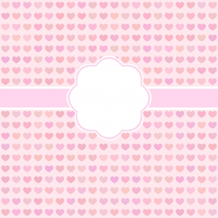 pink cute card with hearts for Valentines day or weddind design