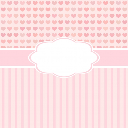 pink cute card with hearts for Valentines day or weddind design  Vector