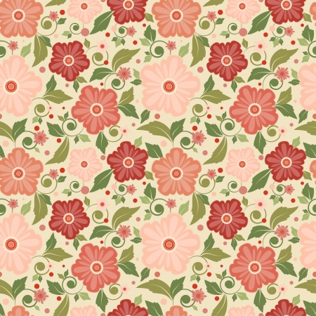 Seamless floral pattern with geometric stylized flowers  Can be used to fabric design, wallpaper, decorative paper, web design, etc  Swatches of seamless patterns included in the file  Vector
