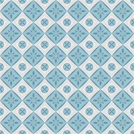 Seamless pattern with geometric diamond shapes and flowers  Can be used to fabric design, wallpaper, decorative paper, web design, etc  Swatches of seamless patterns included in the file  Vector
