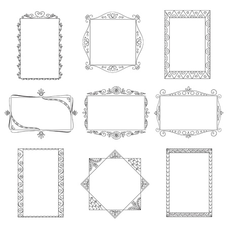 Set of doodle frames  Can be used for decoration of photos, scrapbooking, web project, template for invitations, etc