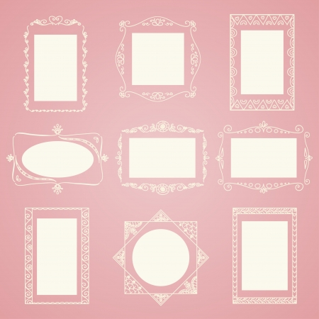 hand drawn frame: Set of doodle frames  Can be used for decoration of photos, scrapbooking, web project, template for invitations, etc