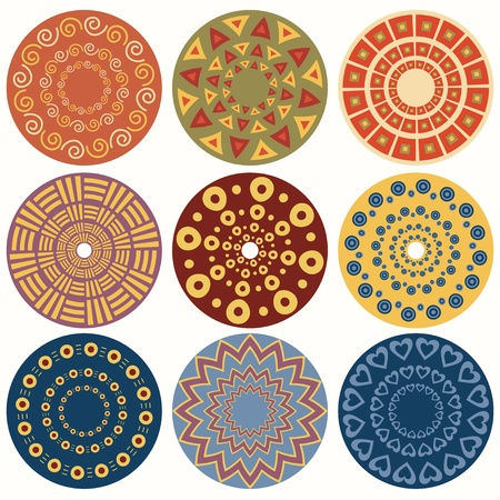 mandala: Ethnic round ornamental pattern  Set of nine geometric colorful mandala Illustration