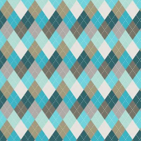 Seamless argyle pattern  Diamond shapes background  Can be used to cloth design, decorative paper, web design, etc  Swatches of seamless pattern included in the file for ease of use  Ilustração