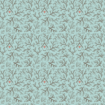 Seamless hand-drawn pattern with branches and bird house  Can be used to fabric design, wallpaper, decorative paper, web design, etc  Swatches of seamless pattern included in the file  Vector