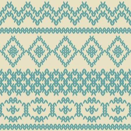 Knitted seamless pattern in ethnic style  Vintage soft colors  Swatches of seamless pattern included in the file  Vector