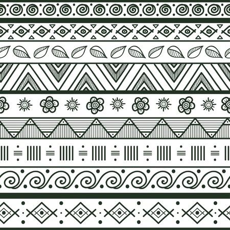 부족 스트라이프 손으로 그린 원활한 패턴 원활한 패턴의 기하학적 검정 흰색 배경 견본 파일에 포함