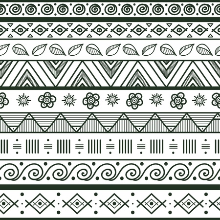 Tribal striped hand drawn seamless pattern  Geometric black-white background  Swatches of seamless pattern included in the file