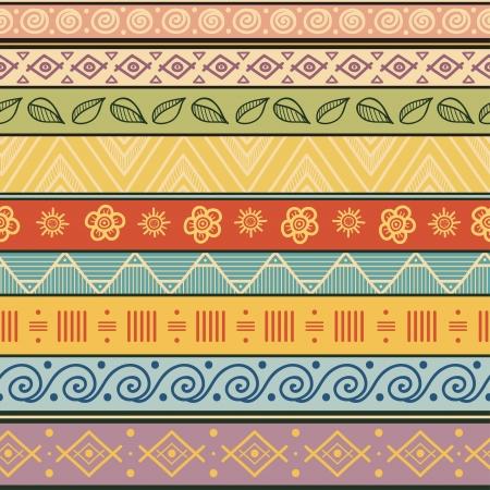 部族のストライプの手描きのシームレスなパターン幾何学的な多色背景ヴィンテージ柔らかい色、ファイルに含まれているシームレスなパターンの