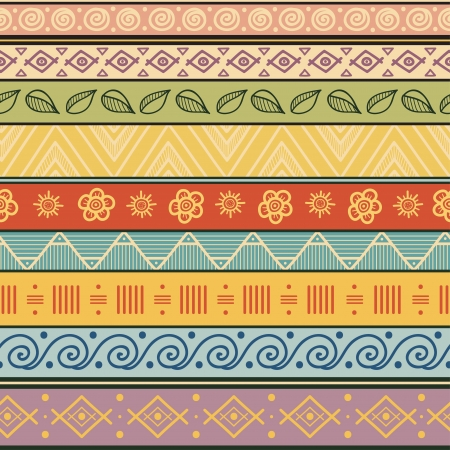 style: Tribal striped hand drawn seamless pattern  Geometric multicolor background  Vintage soft colors  Swatches of seamless pattern included in the file  Illustration