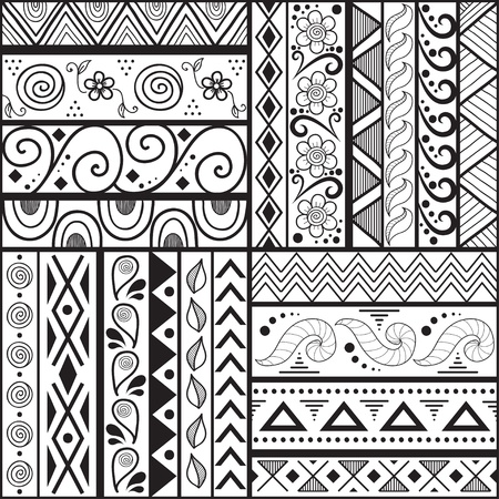 Tribal striped hand drawn seamless pattern  Geometric black-white background  Swatches of seamless pattern included in the file  Vector