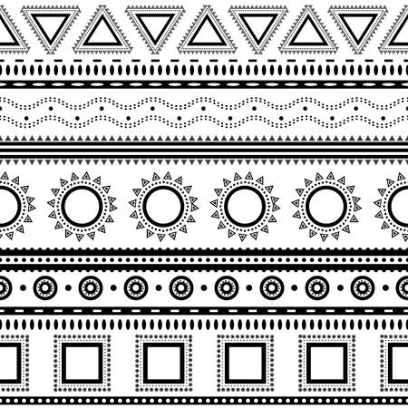 Aztec Seamless pattern pu? essere utilizzato nel design tessuto per la fabbricazione di abiti, accessori, carta decorativa, da imballaggio, buste, web design, ecc Campioni di seamless inclusi nel file Archivio Fotografico - 20025647