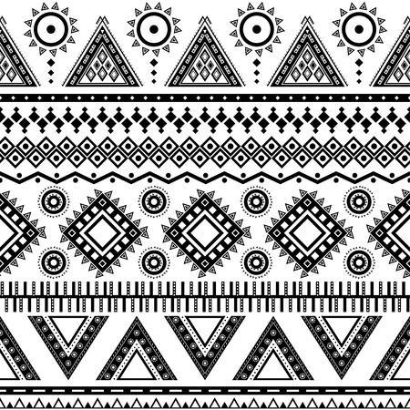 africa american: Aztec seamless pattern  Can be used in fabric design for making of clothes, accessories; decorative paper, wrapping, envelope; web design, etc  Swatches of seamless pattern included in the file