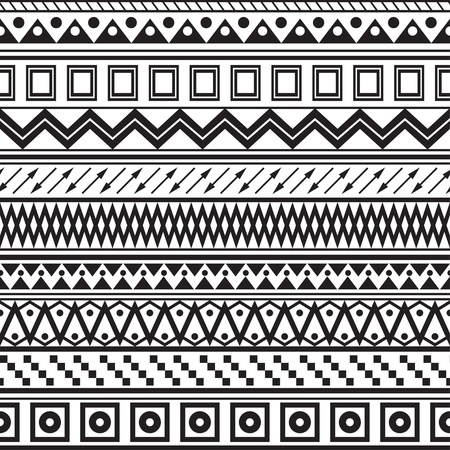 tribal pattern: Tribal striped seamless pattern  Geometric black-white background  Swatches of seamless pattern included in the file