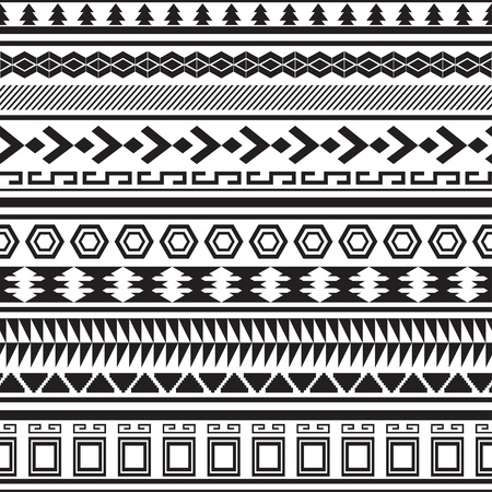 Tribal striped seamless pattern  Geometric black-white background  Swatches of seamless pattern included in the file  Vector