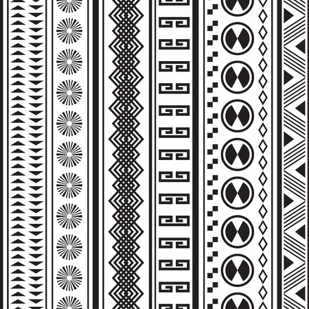 Tribal striped seamless pattern  Geometric black-white background  Swatches of seamless pattern included in the file