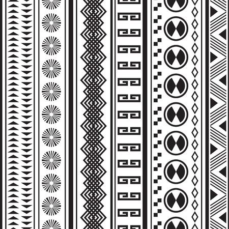 Tribal strisce seamless pattern geometrico nero-bianco, Campioni del seamless inclusi nel file Archivio Fotografico - 20025600