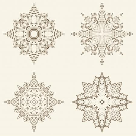 네 개의 만다라의 세트 아름다운 손으로 그린 꽃 민족 레이스 둥근 장식 패턴 패브릭 디자인, 장식적인 종이, 웹 디자인, 자수, 문신 등으로 사용할 일러스트