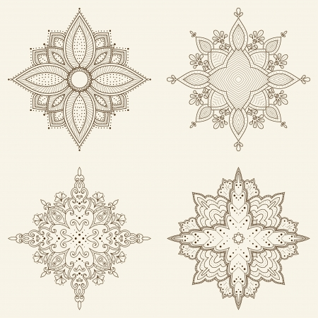 Set of four mandalas  Beautiful hand drawn flowers  Ethnic lace round ornamental pattern  Can be used to fabric design, decorative paper, web design, embroidery, tattoo, etc