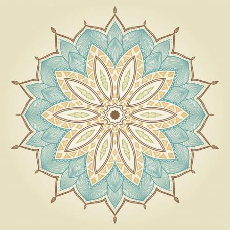 マンダラ美しいファブリック設計、装飾的なペーパー、web デザイン、刺繍、タトゥーなどに描かれた花の民族レース ラウンドの装飾的なパターンを
