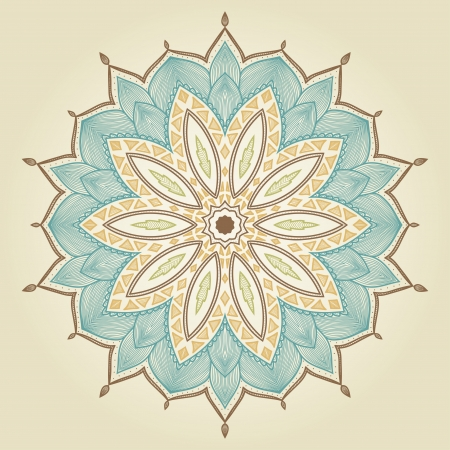 ethnic design: Mandala  Beautiful hand drawn flower  Ethnic lace round ornamental pattern  Can be used to fabric design, decorative paper, web design, embroidery, tattoo, etc