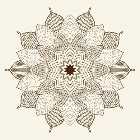 Mandala  Beautiful hand drawn flower  Ethnic lace round ornamental pattern  Can be used to fabric design, decorative paper, web design, embroidery, tattoo, etc