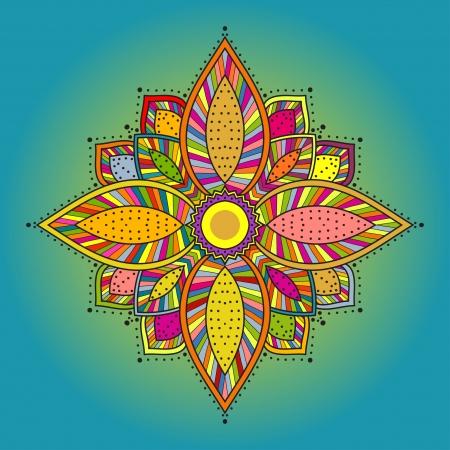 曼陀羅: マンダラ美しい手描きの花民族ラウンド装飾的なパターンは生地デザイン、装飾的なペーパー、web デザイン、刺繍などを使用できます。