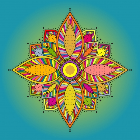 Mandala  Beautiful hand drawn flower  Ethnic round ornamental pattern  Can be used to fabric design, decorative paper, web design, embroidery, etc Zdjęcie Seryjne - 20025619