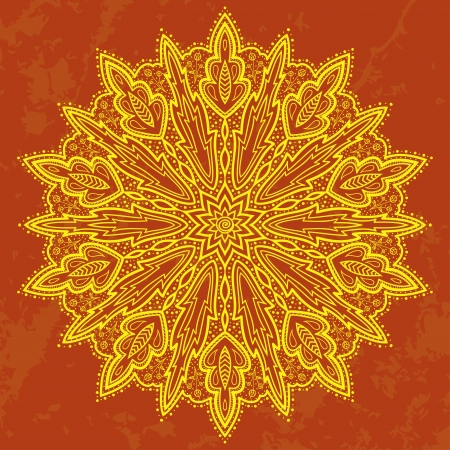 arabesque antique: Mandala  Beautiful hand-drawn flower  Ethnic lace round ornamental pattern  Can be used to fabric design, decorative paper, web design, embroidery, wallpaper, etc