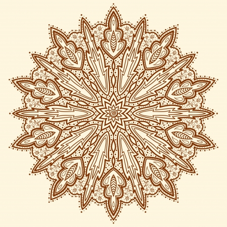 Mandala  Beautiful hand-drawn flower  Ethnic lace round ornamental pattern  Can be used to fabric design, decorative paper, web design, embroidery, tatoo, etc   Vector