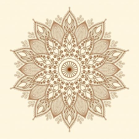 マンダラ美しい手描きの花民族レース ラウンドの装飾的なパターンは生地デザイン、装飾的なペーパー、web デザイン、刺繍、タトゥーなどを使用で