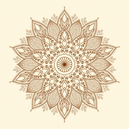 Mandala  Beautiful hand-drawn flower  Ethnic lace round ornamental pattern  Can be used to fabric design, decorative paper, web design, embroidery, tatoo, etc