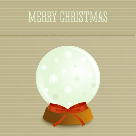 Christmas background in retro style with snow globe and place for text. Imitation paper. Soft colors. Vector
