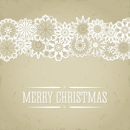 Christmas background in retro style with snowflakes and place for text. Imitation paper. Soft colors. Vector