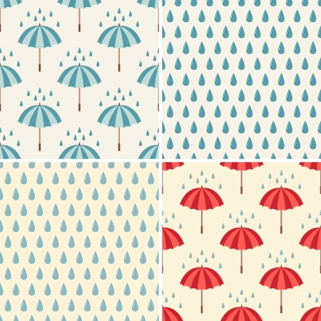 Set of four seamless pattern with umbrellas and rain drops  Can be used to fabric design, wallpaper, decorative paper, web design, etc  Vector