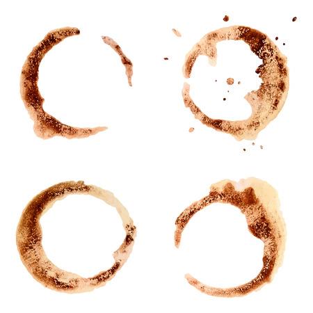 Conjunto de manchas de café para el diseño. Fondo de textura abstracta. Ilustración del vector.