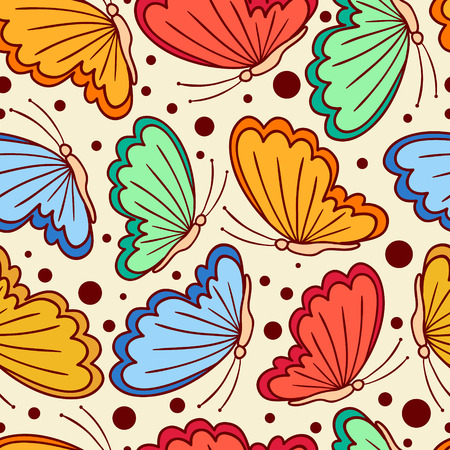 Seamless pattern with stylized butterflies. Can be used to fabric design, wallpaper, decorative paper, web design, etc. Vector