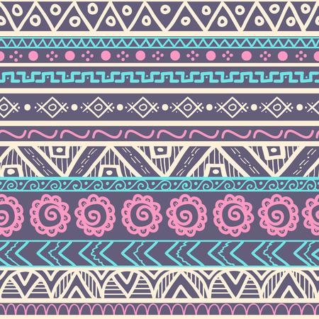 部族のストライプのシームレスなパターン。幾何学的な手描きの背景。服、アクセサリー; の作るため生地設計で使用されることができます。装飾的  イラスト・ベクター素材