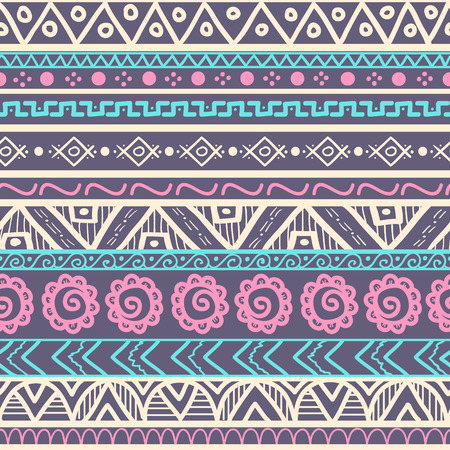 Tribal striped seamless pattern. Geometric hand drawn background. Can be used in fabric design for making of clothes, accessories; creating decorative paper, wrapping, envelope; in web design, etc. Stock Illustratie