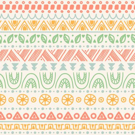 Tribal gestreepte naadloos patroon. Hand getrokken aztec achtergrond. Zachte kleuren. Kan worden gebruikt in stof ontwerp voor het maken van kleding, accessoires; het creëren van decoratief papier, verpakking, envelop; in web design, etc.