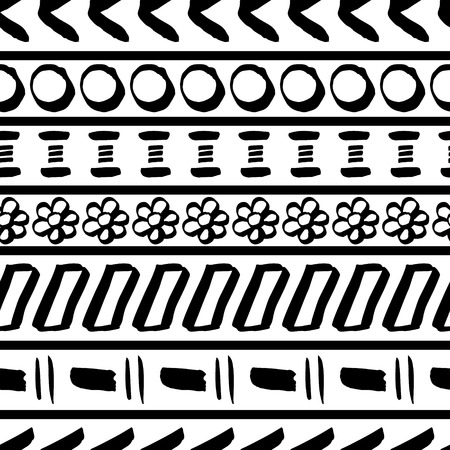 Tribal striped seamless pattern. Geometric hand drawn black-white background. Can be used in fabric design for making of clothes, accessories; decorative paper, wrapping, envelope; web design, etc. Vector