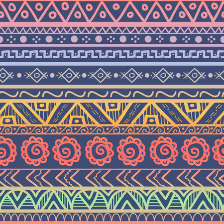 Tribal striped seamless pattern. Hand drawn aztec background. Soft colors. Can be used in fabric design for making of clothes, accessories; creating decorative paper, wrapping, envelope; in web design, etc.