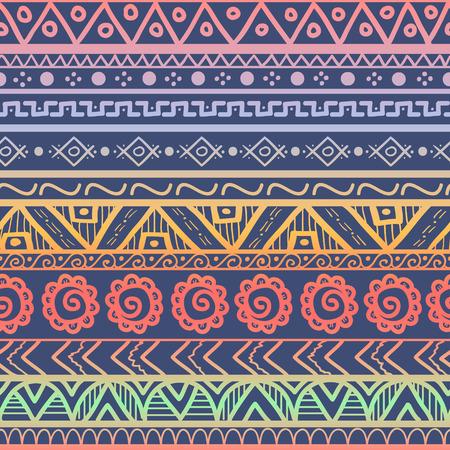 Tribal gestreiften nahtlose Muster. Hand gezeichnet Aztec Hintergrund. Weichen Farben. Kann in Stoff-Design für die Herstellung von Kleidung, Zubehör verwendet werden; Erstellen von Dekorpapier, Verpackung, Hülle; in Web-Design, etc. Illustration